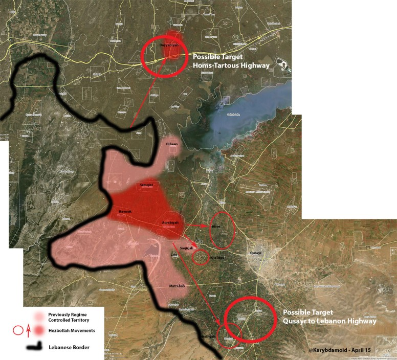 Overview map of recent Hezbollah movements in Syria Homs Governorate