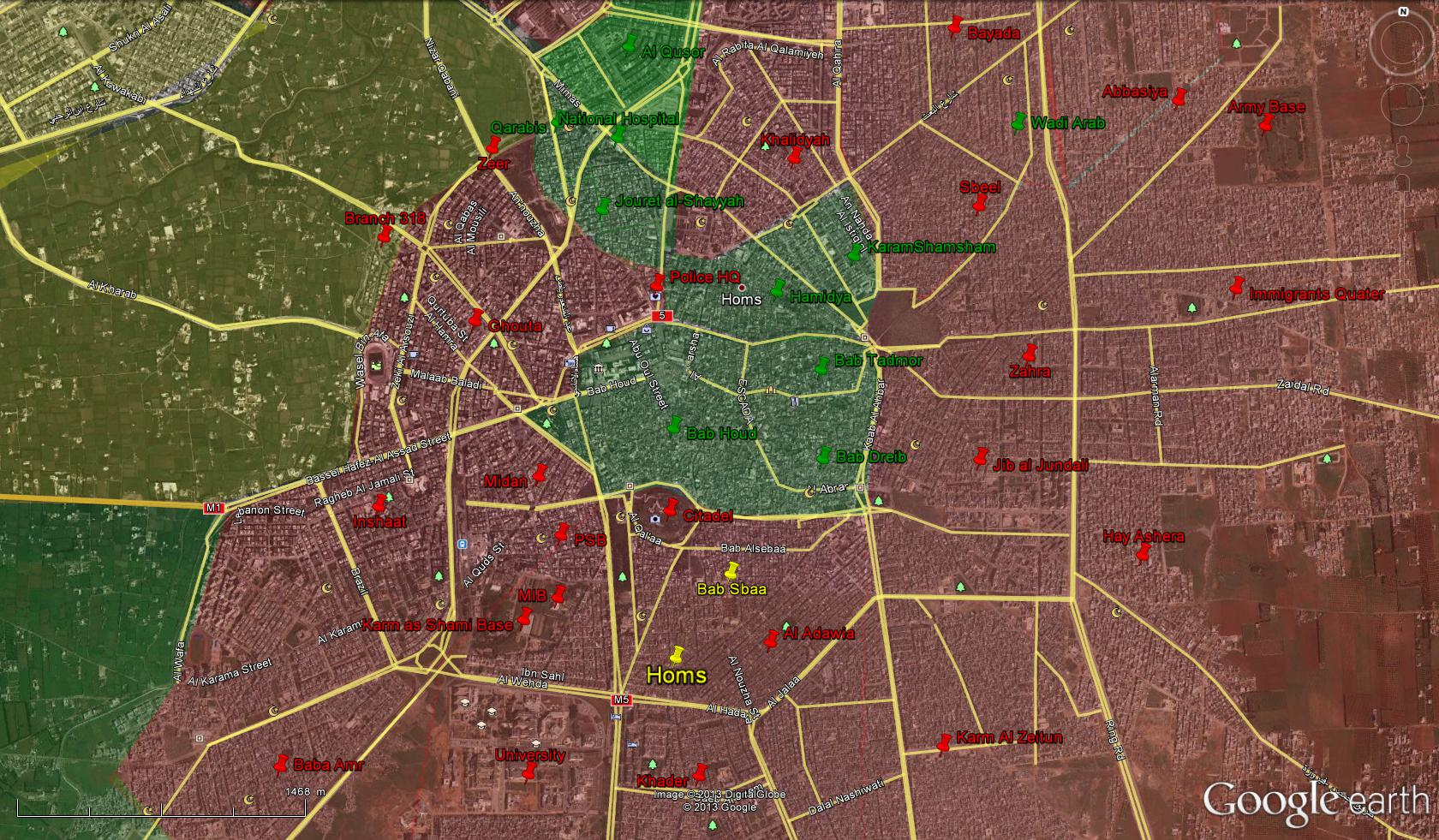 Syria Homs Map of military situation in Homs YALLA SOURIYA