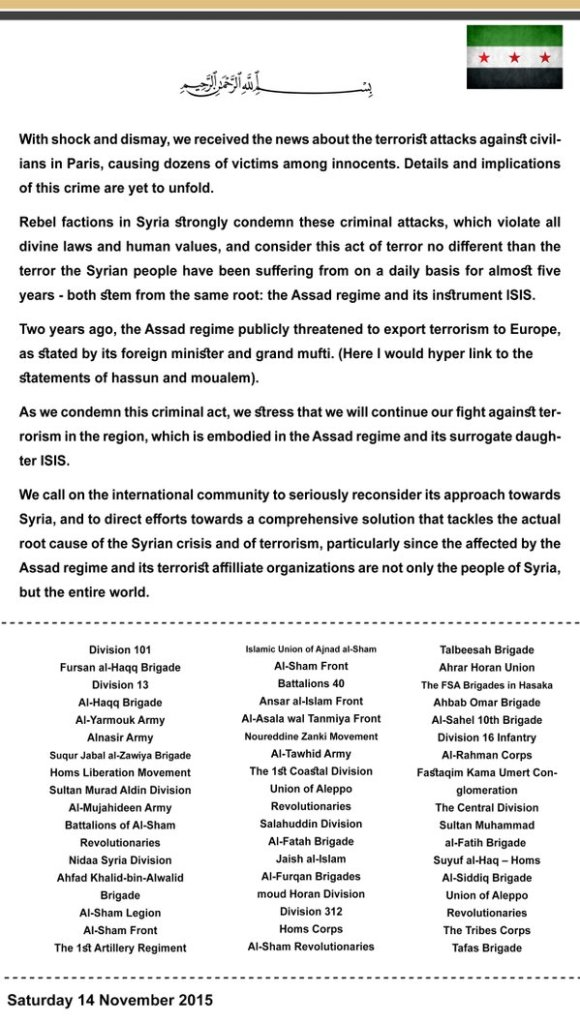 FSA and joint statement against Paris attack